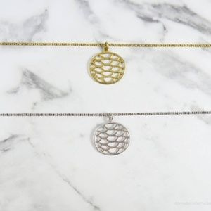 Oval Matte Gold Silver Milly Necklace